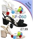 NF-060 mid heeled tie-up pompom sandal Was £7.99 Now £2.50  each + VAT