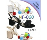 NF-060 mid heeled tie-up pompom sandal Was £7.99 Now £3.99  each + VAT
