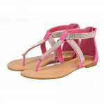 D4518 Ladies wholesale toe post diamante beach sandal