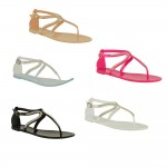 D4552 Toe post jewel gladiator jelly sandal