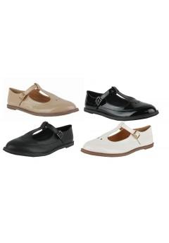 D4589 Ladies casual flat office brogue shoe