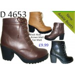 4653 block heeled lace up chelsea boots £9.99 each
