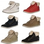 D4672 Lace up fur lined high top trainers from £4.99 each