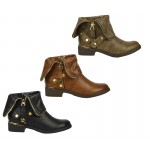D4678 Flat low heeled gold detail ankle boots £12.99 each