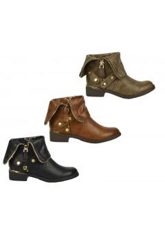 D4678 Flat heel gold zip Chelsea ankle boot £5.99 each + VAT