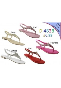 D 4838 Ladies Embellished Flat sandals £6.99 now £3.99 each + VAT