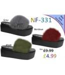 NF-331 Ladies Long Fur Heel slider Was £9.99 Now £4.99 each + VAT