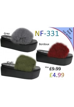 NF-331 Ladies Long Fur Heel slider Was £9.99 Now £4.99 each + VAT