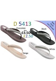D 5413 Ladies Flat diamante sandals £2.50 + VAT