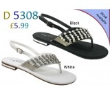 D 5308 Ladies Embellished Flat sandals Was £5.99 now £4.99 each + VAT