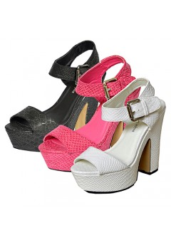 Amy chunky block heeled snake skin designs heels £9.99 Now £2.99 + Vat each