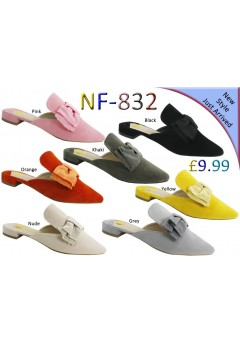 NF 832 Ladies Faux Suede Pointy Bow Mules  Was £9.99 Now £5.99 each + VAT