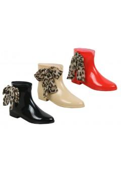 D4123 Ankle boot wellington leopard ribbon *SALE* was £5.99 Now £3.99 +VAT