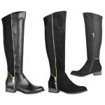 D4685 flat Knee length riding boot with zip detail and stretch lycra back for optimum fit £14.99 each + VAT