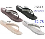 D 5413 Ladies Flat diamante sandals £2.75 + VAT