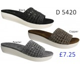 D 5420 Ladies Comfort Shinny Mule Sandals  £7.25 + VAT
