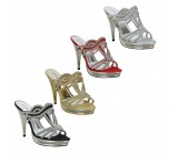 D3874 High heeled diamante platform shoe