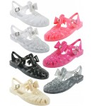 D4731 Flat jelly sandals shoes with diamante trim bow Ladies Pack B UK3-6 Was £2.75 Now £1.00 each + VAT