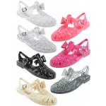 D4731 Flat jelly sandals shoes with diamante trim bow Ladies UK3-8 £2.75 each + VAT