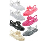 D4731 Flat jelly sandals shoes with diamante trim bow Kids UK3-6 no vat Was £2.75 Now £1.99 each