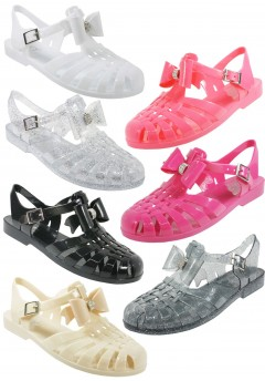 D4731 Ladies Flat jelly sandals shoes with diamante trim bow Pack A  Was £2.75 Now £1.00 each
