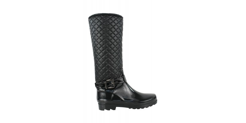 knee high quilted zip up strappy buckle flat wellington boots