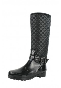 El3 Ladies, woman's knee high quilted zip up strappy buckle flat wellington boots Sizes UK 3 - UK 8 £12.99 + VAT
