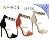 NF-803 Ladies Jewel Back Zip High Heel sandals £13.99 each + VAT