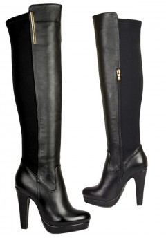 4688 Over the Knee Hi Heel platform  Stretch back boot, black  £14.50 each +VAT
