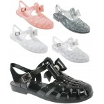 D4824 jelly sandals shoes with diamante bow and adjustable bar, Kids UK10-2 no vat £2.25 each