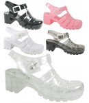 D4825 jelly sandals shoes with block heel and adjustable bar, Kids UK10-2 no vat Was £3.25 Now £1.99 each