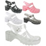 D4825 jelly sandals shoes with block heel and adjustable bar, Kids UK10-2 no vat £3.25 each