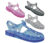 D4826 jelly sandals shoes with adjustable bar, Kids UK10-2 no vat Was £1.99 Now £1.00 each