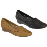 5104 Low wedge casual office court shoes with punched design apron / sides and elastic tab £5.99 each