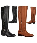 5158 Knee length Biker boot, black Matt or Tan Matt with decorative outside zip.  £15.50 each +VAT