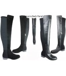 5161 Over Knee Low Heel boot, black Suede With Lycra panel, inside zip.  £14.99 each +VAT