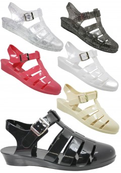 D4781 Wedge jelly sandals shoes with adjustable bar Ladies UK 3-8 Was £2.99 Now £1.99 each VAT
