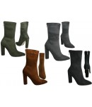NF-12 Ankle boot with hi fasion heel and back zip Stretch material  £14.99 each +VAT