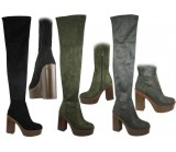 NF-15 Thigh length boot with fashion heel platform unit, Stretch leg, inside zip  £16.99 each +VAT