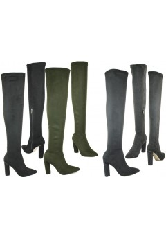 NF-16 Thigh length boot with hi fashion heel, Stretch suede leg, inside zip  £16.99 each +VAT