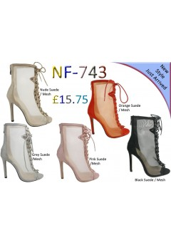 NF- 743 LADIES MESH LACE-UP HIGH HEEL BOOTS £15.75 each + VAT
