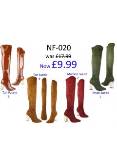 NF-020 Thigh length boot with hi fashion clear heel, side zip  £9.99 Now £4.99 each +VAT