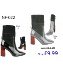 NF-022 Ankle boot with sock block heel and side zip patent material  £9.99 each +VAT