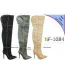 NF 1084 Over the Knee Hi Heel Studded Suede Pointy Boot, £35.50 each +VAT