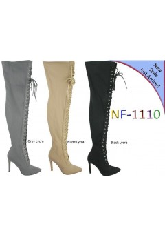 NF 1110 Over the Knee Hi Heel Lace Up Pointy Boot, £19.99 Now £15.99 each +VAT