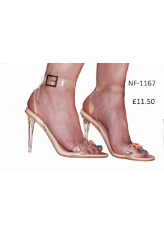 NF- 1167  Perspex Ankle Buckle Jewel sandals £11.50 each + VAT