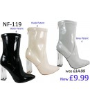 NF-119 Ankle boot with clear heel and back zip patent material  £9.99 each +VAT