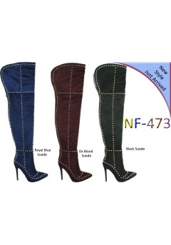 NF 473 Over the Knee Hi Heel Studded Suede Pointy Boot, £29.50 each +VAT