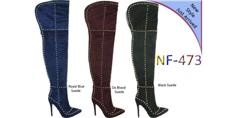 Over the Knee Hi Heel Studded Suede Pointy Boot