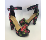 NF-782 Floral black satin platform shoes £13.50 each + vat